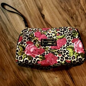 Betsey Johnson Wild Rose Leopard Print Makeup Bag